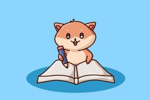 um hamster fofo escrevendo em um livro vetor