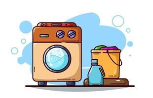 ilustração de máquina de lavar, detergente e balde de roupas vetor