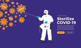 serviço de esterilização covid-19 vetor