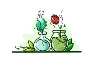 ilustração de uma poção feita de plantas e flores