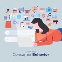 ícones de análise de comportamento do consumidor vetor
