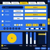 Vetor de elementos de kit de interface do usuário do player de mídia wireframe