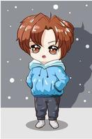 garotinho com cabelo castanho e ilustração com capuz azul vetor