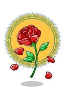 ilustração de rosa real desenho a mão vetor