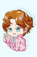 garotinho fofo de olhos azuis com jaqueta rosa, personagem chibi vetor