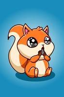um pequeno esquilo comendo sementes de girassol vetor