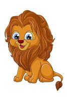 um leãozinho marrom pequeno e fofo, ilustração em vetor desenho animal