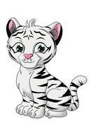 um pequeno tigre branco fofo, desenho de ilustração vetorial de desenho animado