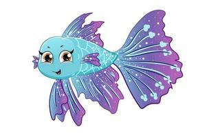 um bonito peixe betta roxo azul, desenho de ilustração vetorial de desenho animado