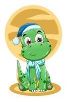 ilustração vetorial de um pequeno dinossauro verde fofo com chapéu azul