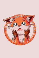 a pequena raposa triste vai perder a ilustração do seu amigo