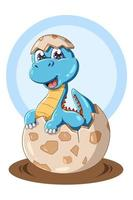 um dinossauro azul bebê na ilustração animal ovo vetor