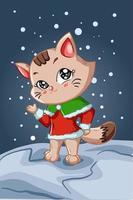 uma pequena e linda gata marrom usando fantasia de natal na noite de inverno vetor