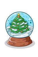 ilustração de globo de neve de natal desenhada à mão