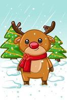 um pequeno veado na temporada de natal