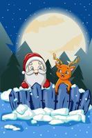 Papai Noel com um cervo fofo sob a noite de lua cheia de natal