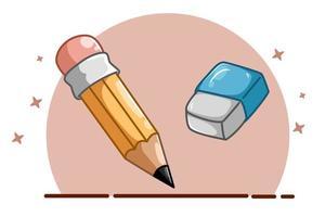 ilustração de um lápis e uma borracha vetor