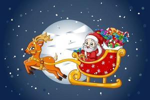 Papai Noel em um trenó de renas carregando presentes na noite de natal