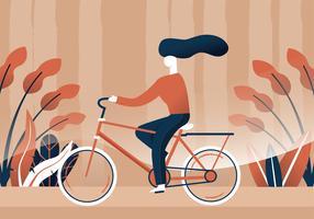 Mulher, montando, um, bicicleta, vetorial, desenho vetor
