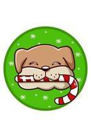 um cachorro marrom trouxe um doce de natal vetor