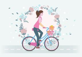 Mulher, montando, um, bicicleta, vetorial vetor
