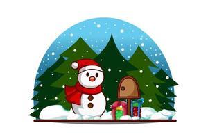 boneco de neve com caixa de correio e presentes na véspera de natal vetor