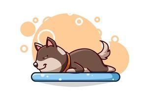 ilustração vetorial de um cachorro fofo dormindo