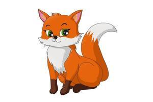 uma bela raposa laranja fêmea, desenho animal cartoon ilustração vetorial vetor