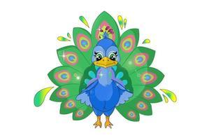 um pequeno pavão bonito e feliz, ilustração em vetor desenho animal