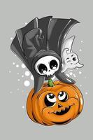 uma pequena caveira fofa e um pequeno fantasma se divertindo com a abóbora de Halloween