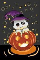 uma ilustração de um fantasma fofo usando um chapéu de bruxa na abóbora de Halloween