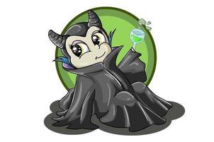 a ilustração de um mágico vestindo uma túnica preta e carregando um copo de ervas verdes