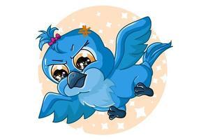 um lindo pássaro arara azul bebê, desenho animal cartoon ilustração vetorial vetor