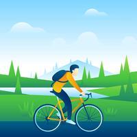 Andar de bicicleta pelo campo vetor
