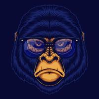ilustração vetorial de cabeça de gorila com óculos