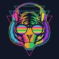 ilustração vetorial de fone de ouvido tigre com óculos coloridos