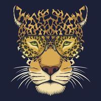 ilustração vetorial de cabeça de jaguar com óculos vetor