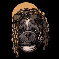 ilustração em vetor cabelo pug cachorro dreadlocks