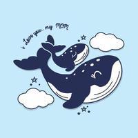cartão do dia das mães com baleias. lindo animal mãe e bebê.