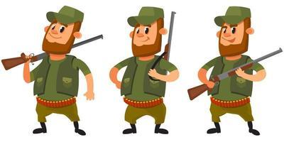 caçador em diferentes poses.