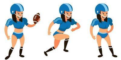 jogador de futebol americano em diferentes poses. personagem feminina em estilo cartoon.