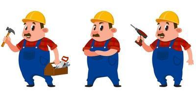 construtor em diferentes poses. vetor