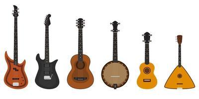 conjunto de diferentes instrumentos de cordas. vetor