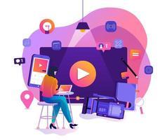 marketing de vídeo vlog vetor