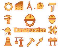 conjunto de ícones de construção, desenho vetorial. vetor