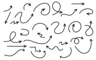 coleção de seta desenhada de mão, desenho vetorial. vetor