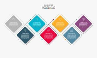modelo de infográfico de negócios de forma quadrada linha fina seta com 7 opções vetor
