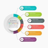 modelo de infográfico de etapa de círculo com 6 opções. vetor