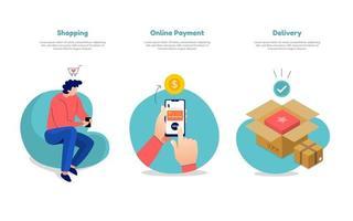 compras online, pagamento e entrega vetor