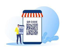 homem de negócios segurando smartphone usa conceito de loja online de pagamento código qr vetor